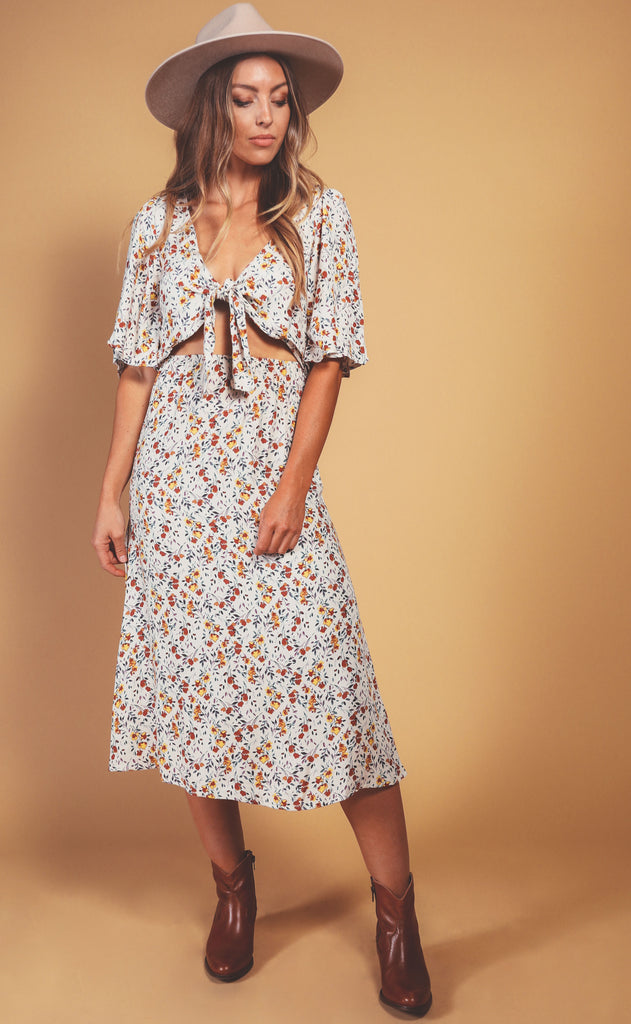 fall dreams printed dress
