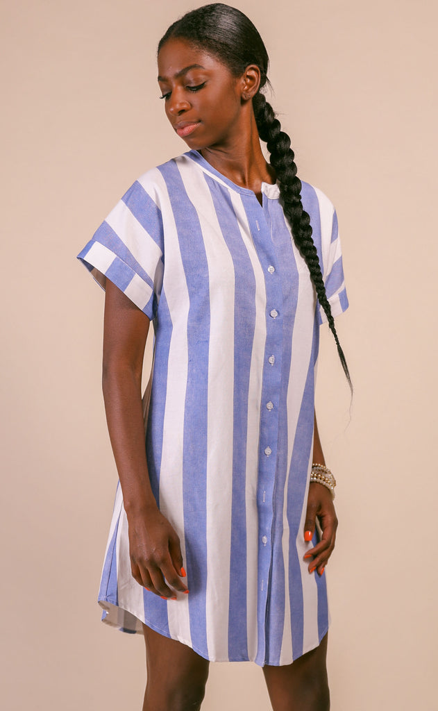 easy breezy linen dress - blue