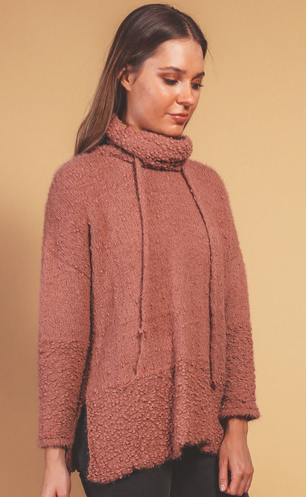 making memories cowl neck pullover - dusty cedar