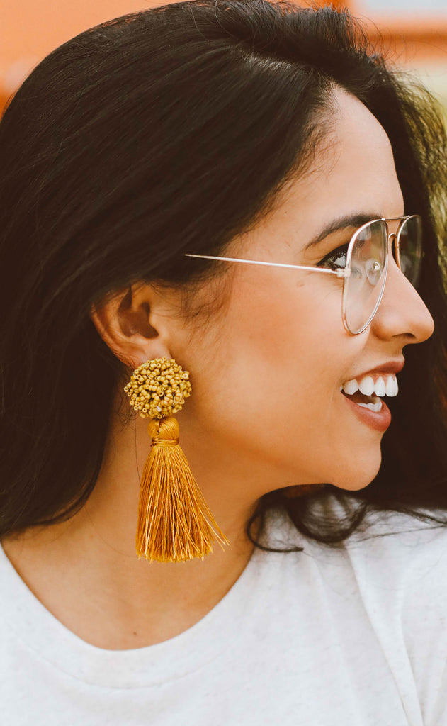 beaded tassel statement earrings - mustard