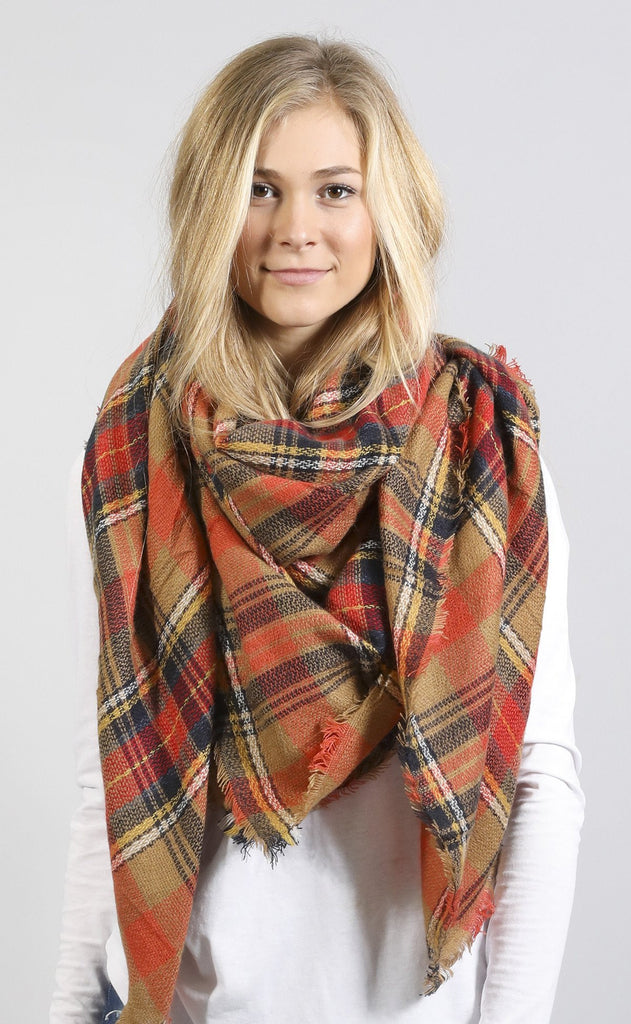 watch the sunset plaid scarf - orange
