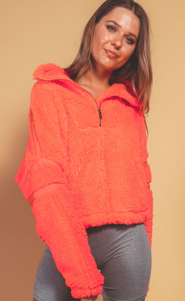 free people movement: nantucket fleece - neon coral
