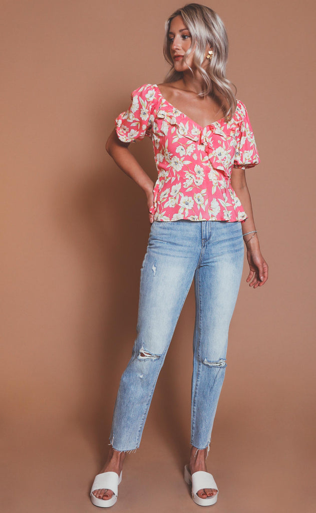 cabana chic floral blouse