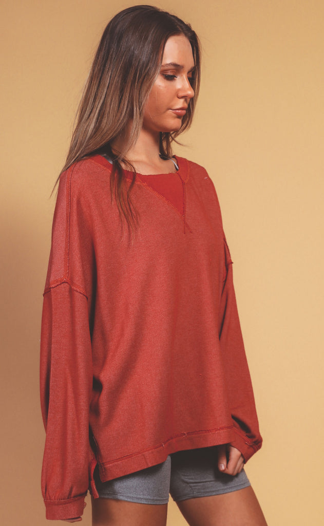 free people movement: rugby match long sleeve - autumn spice