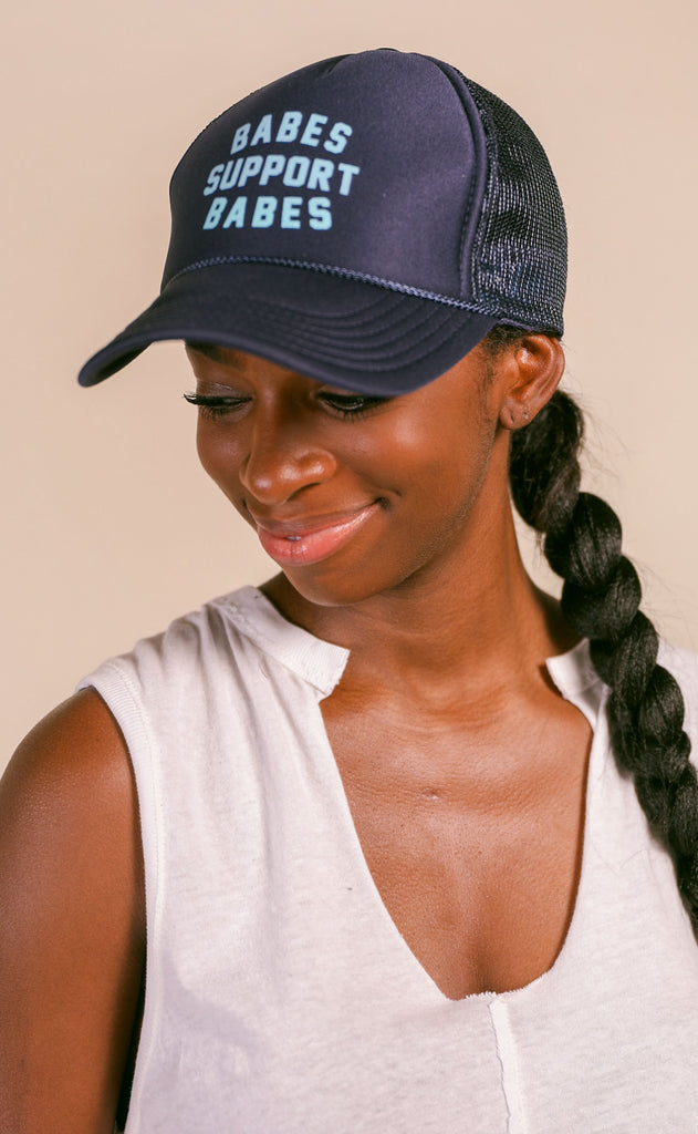 friday + saturday: babes support babes trucker hat - navy