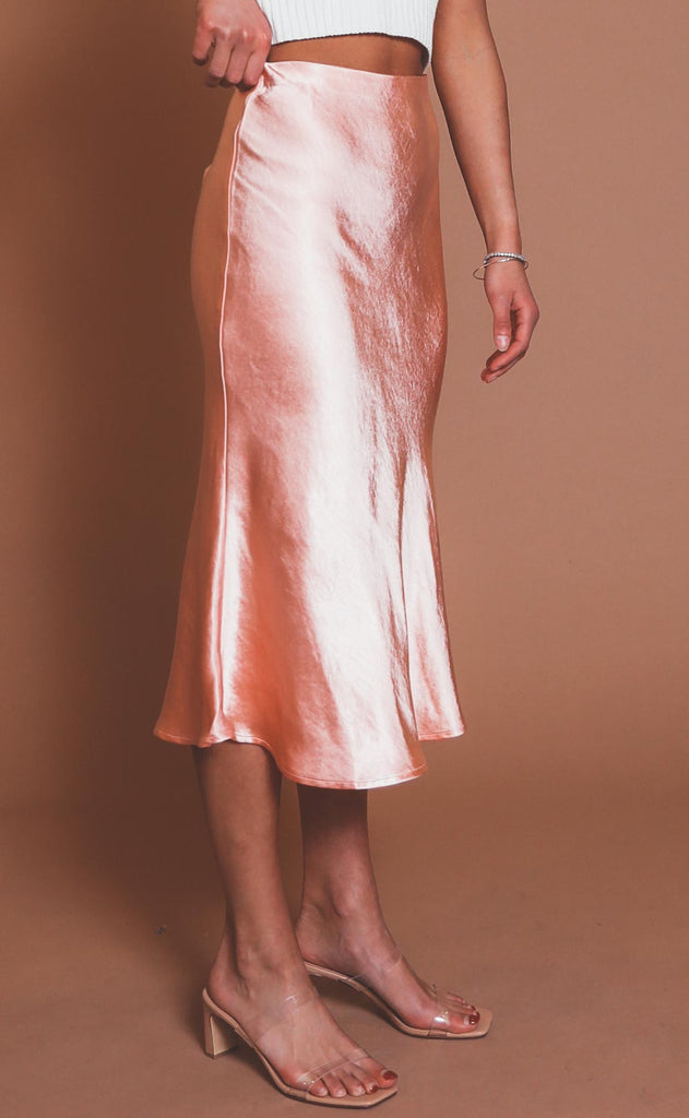 adore you satin midi skirt - coral