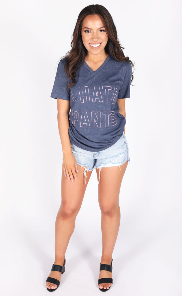 friday + saturday: i hate pants v-neck t shirt