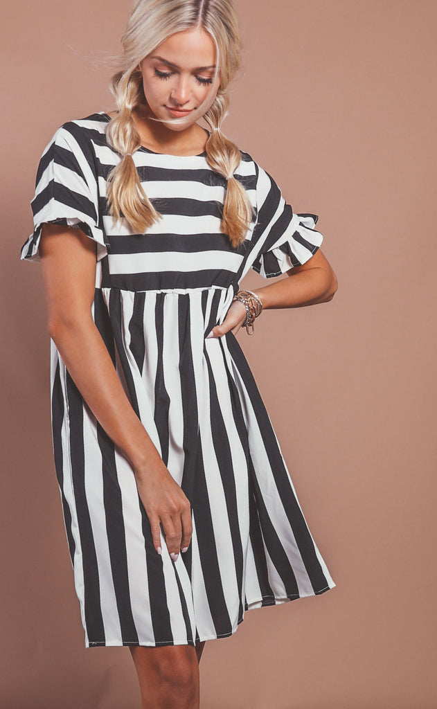 sweetly striped babydoll dress - black