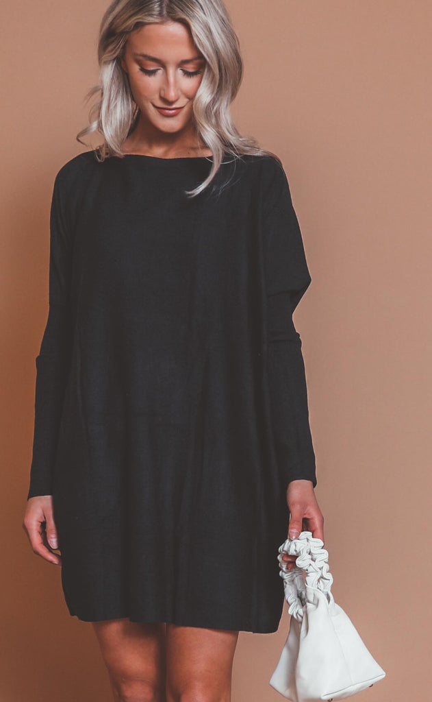 now or never knit dress - black
