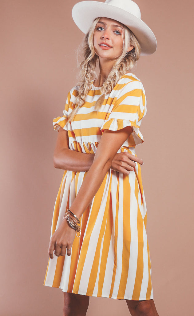 sweetly striped babydoll dress - mustard