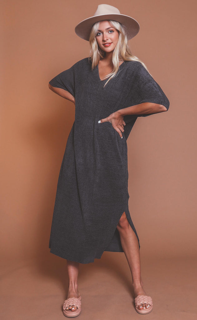 barefoot dreams: cozychic ultra lite caftan - carbon