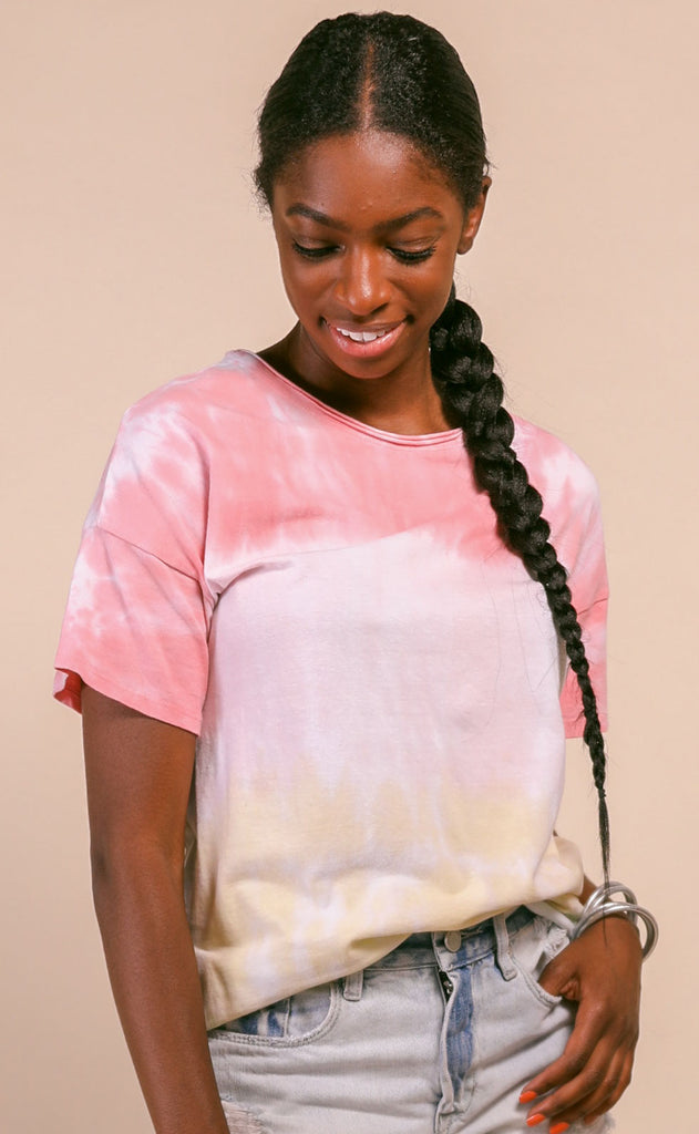 afternoon tie dye tee - coral