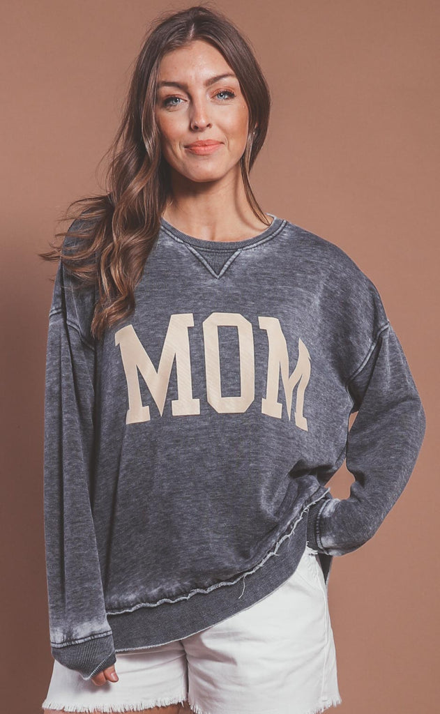 amber massey: mom high low sweatshirt - charcoal