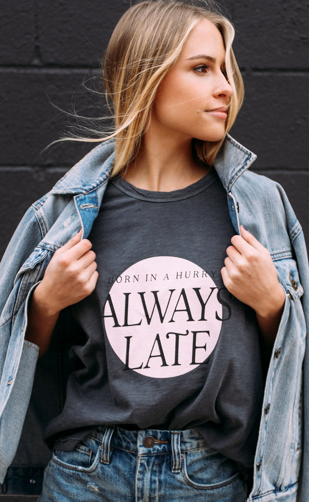 friday + saturday: always late muscle tank