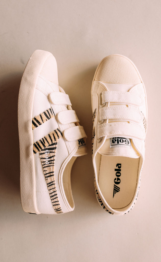 gola: coaster safari velcro - off white/zebra