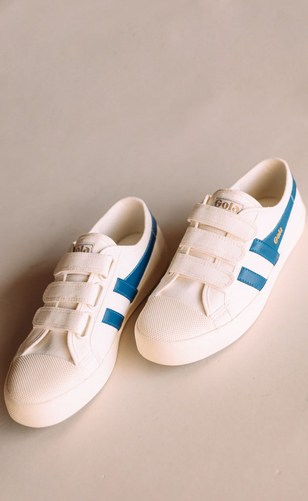 gola: coaster - safari velcro - off white/vintage blue