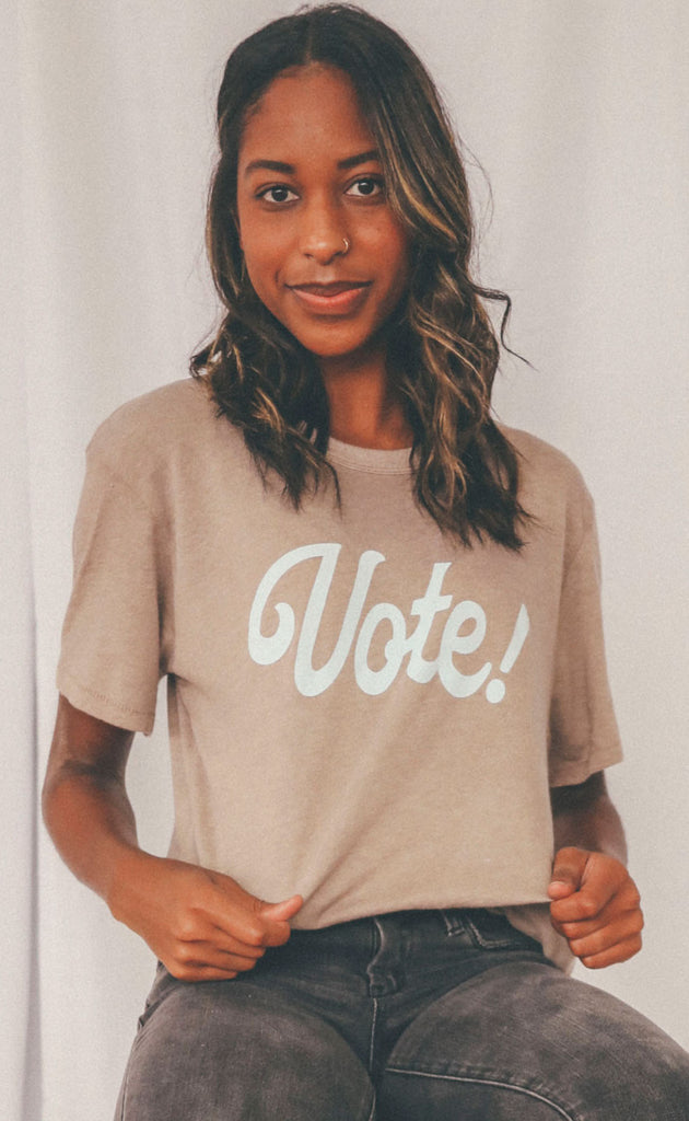 charlie southern: cursive vote t-shirt