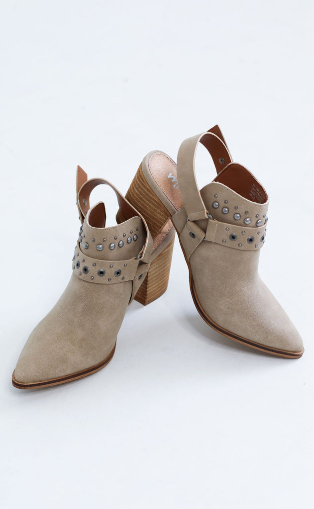 kickin' it studded bootie - taupe