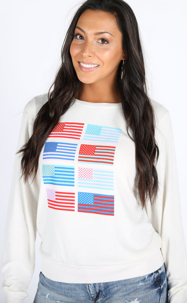 wildfox: baggy beach jumper - pop americana