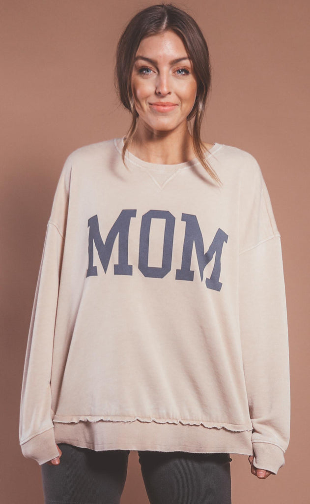 amber massey: mom high low sweatshirt - oatmeal