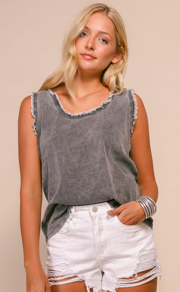 leni denim cami - black