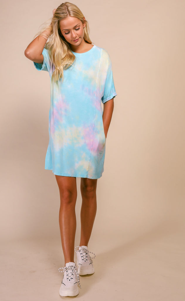 hannah side pocket tie dye tunic - mint