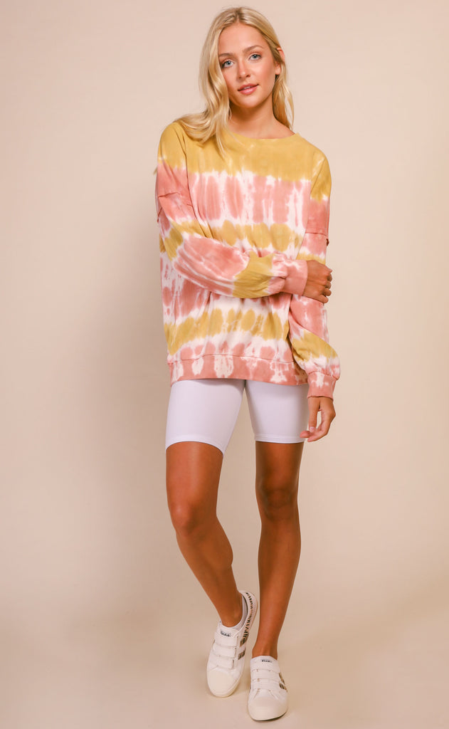 late night long sleeve tie dye tee - mustard rose