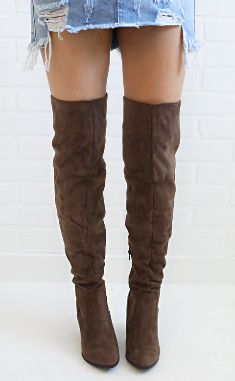 way up over the knee boots - brown