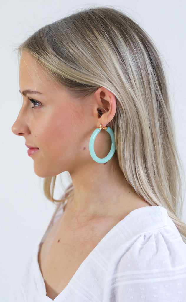 acrylic hoop earrings - seafoam