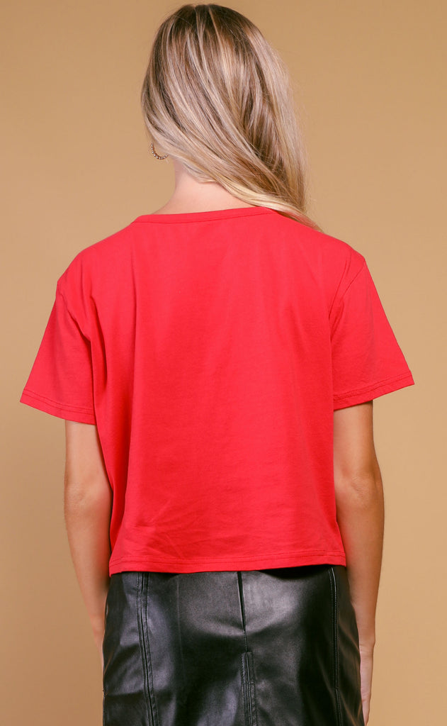 buddy love: sarah crop tee - red