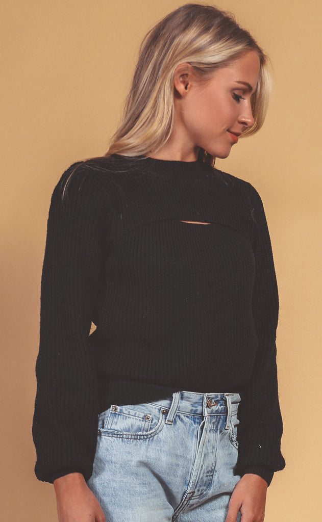 make the cut knit sweater - black