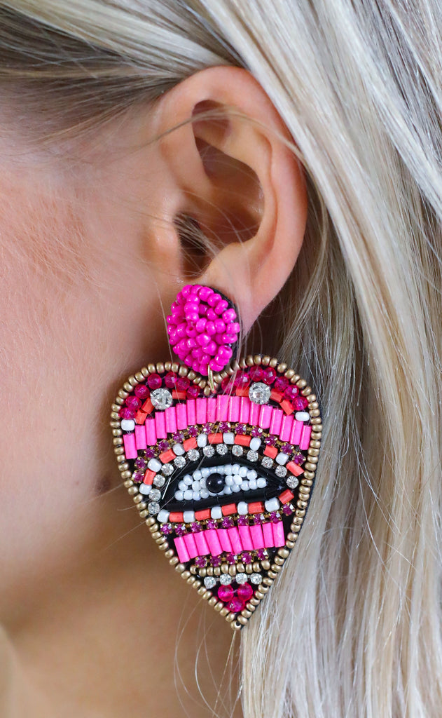 eye heart you statement earrings