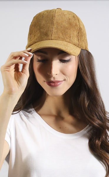 around the globe corduroy hat - mustard