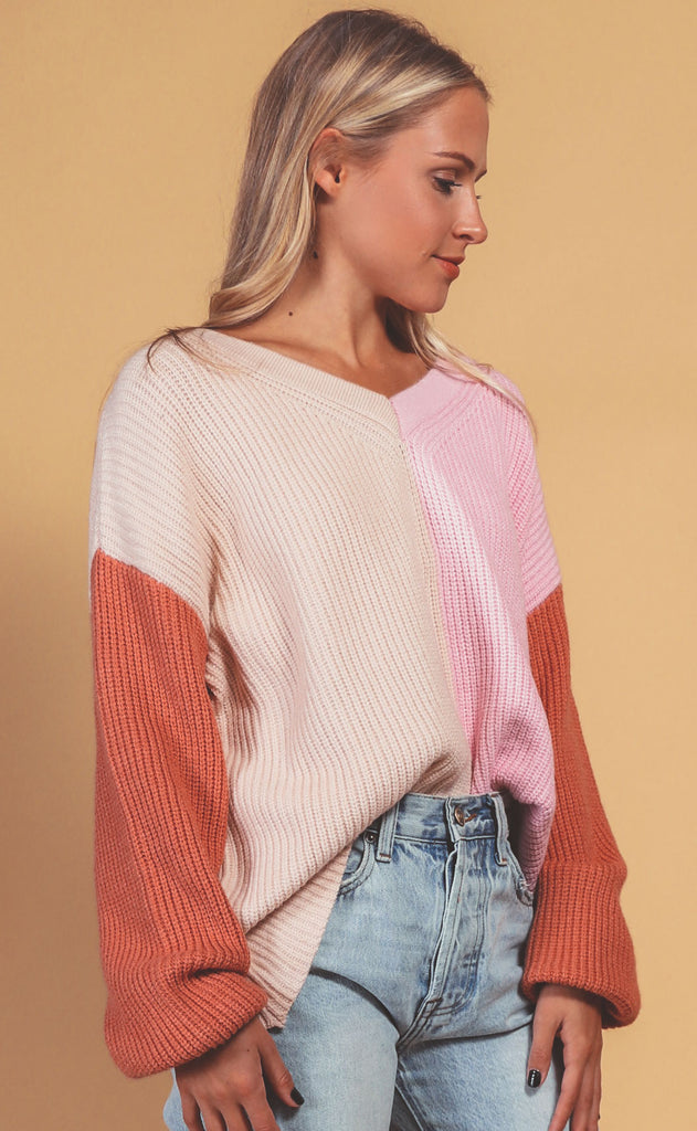 blocked off knit sweater