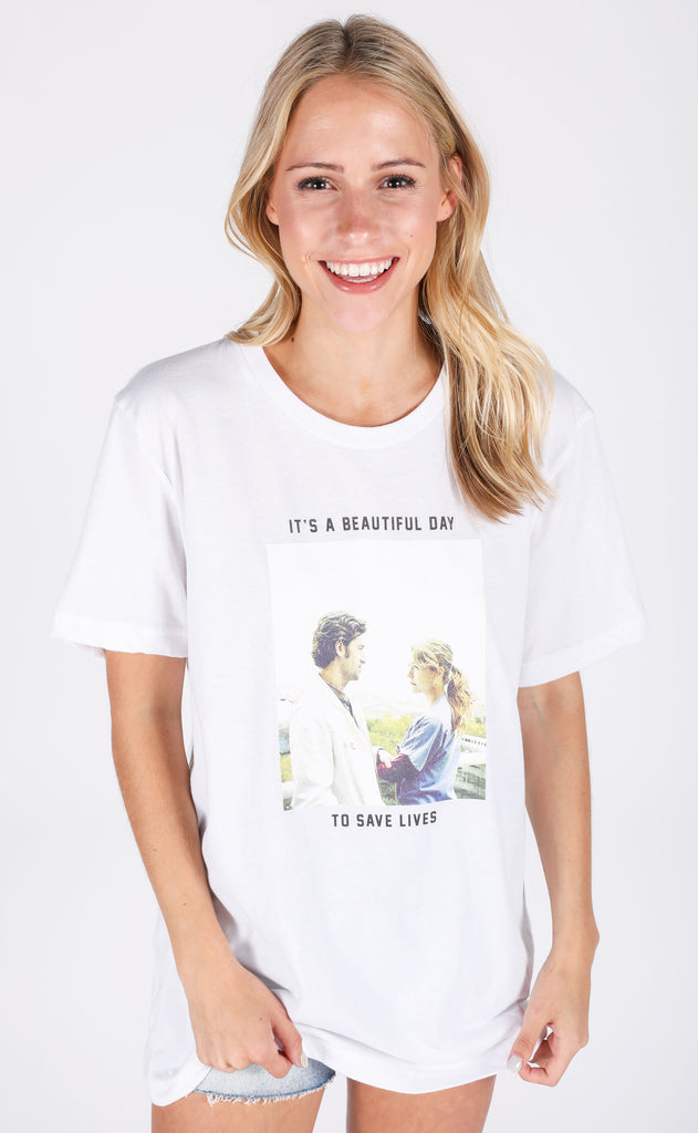 friday + saturday: it's a beautiful day to save lives t shirt