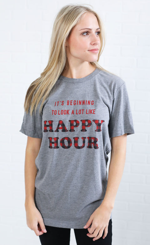 friday + saturday: it's beginning to look a lot like happy hour t shirt