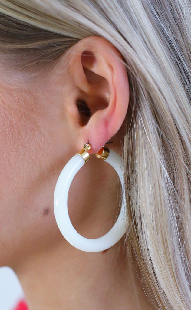 acrylic hoop earrings - ivory