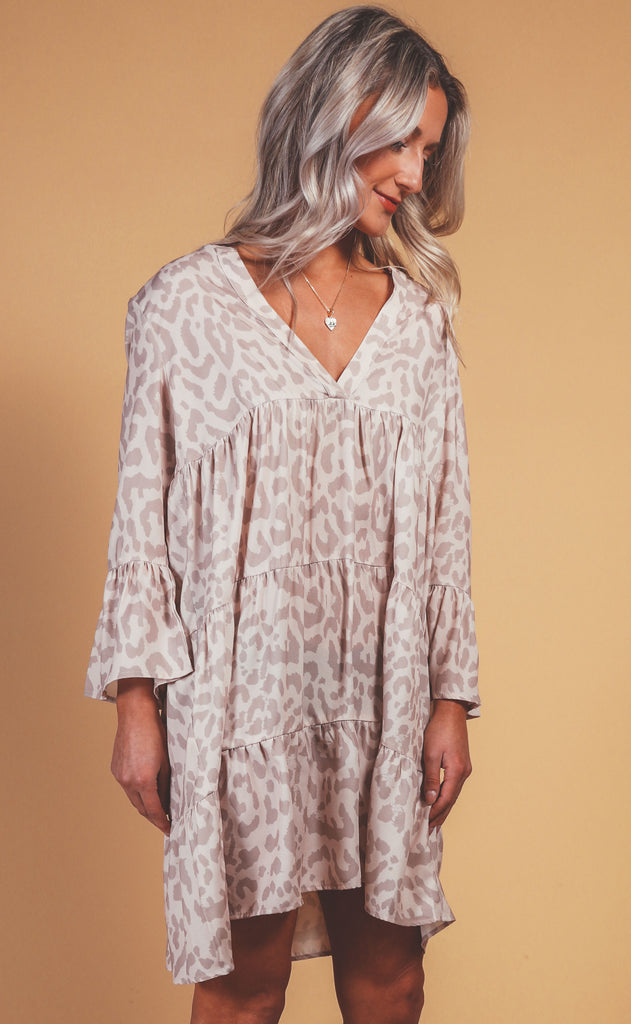wild side babydoll dress - taupe