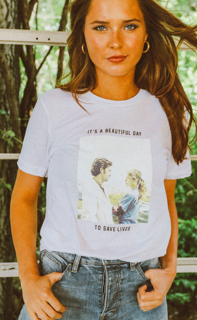 46421748 friday + saturday: it's a beautiful day to save lives t shirt (PREORDER)