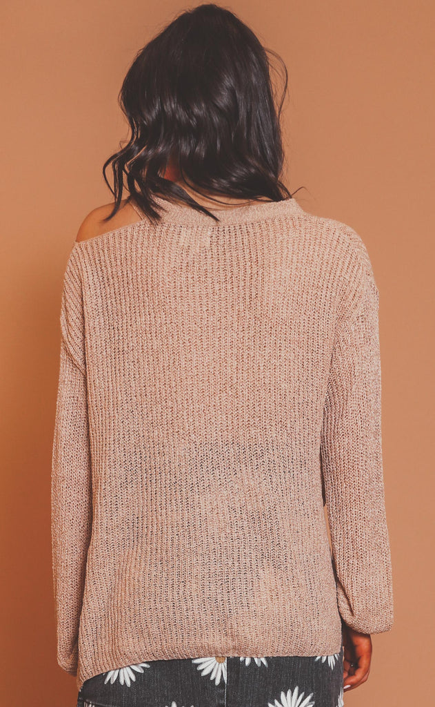 on edge cutout sweater - taupe