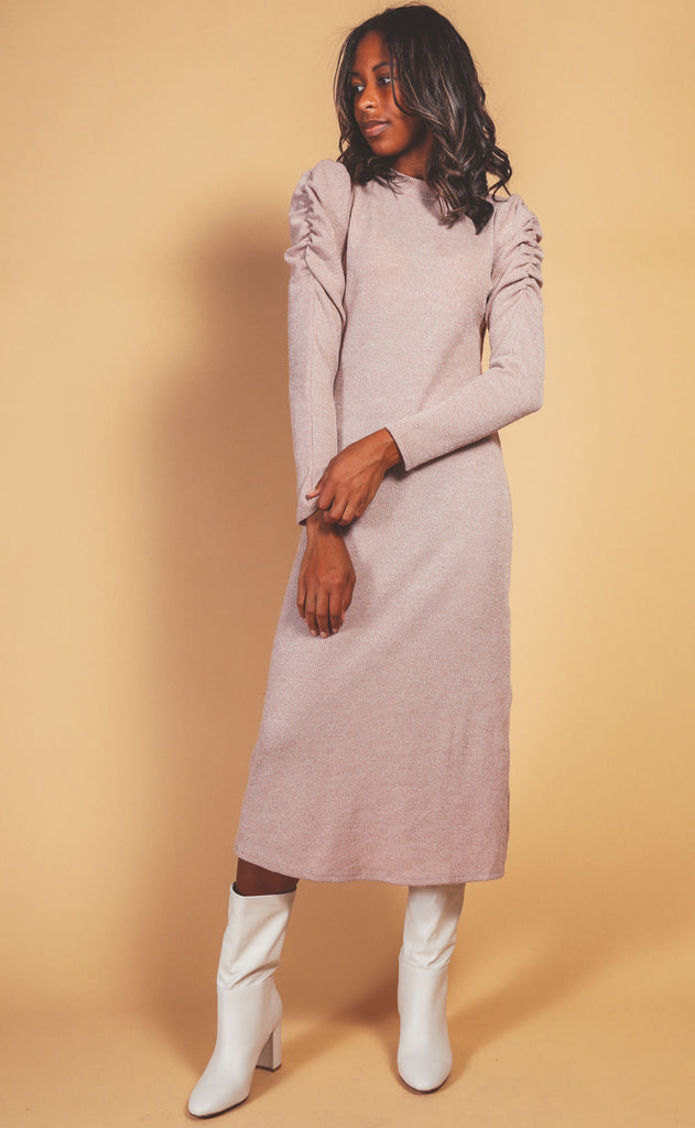 mock neck sweater dress - taupe