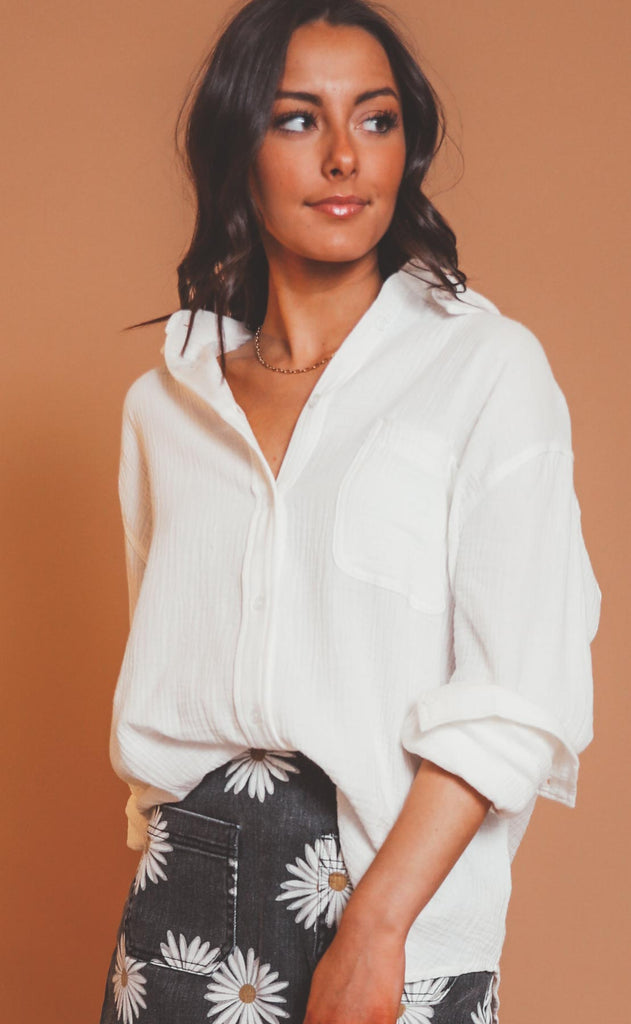 keep it classic button down top - ivory