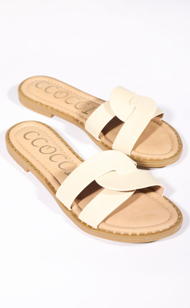 sandy toes slip on sandal - natural