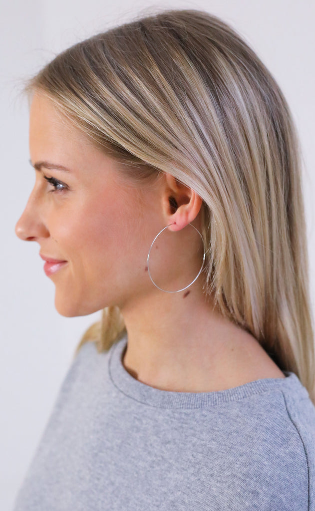 thin hoop earrings - silver