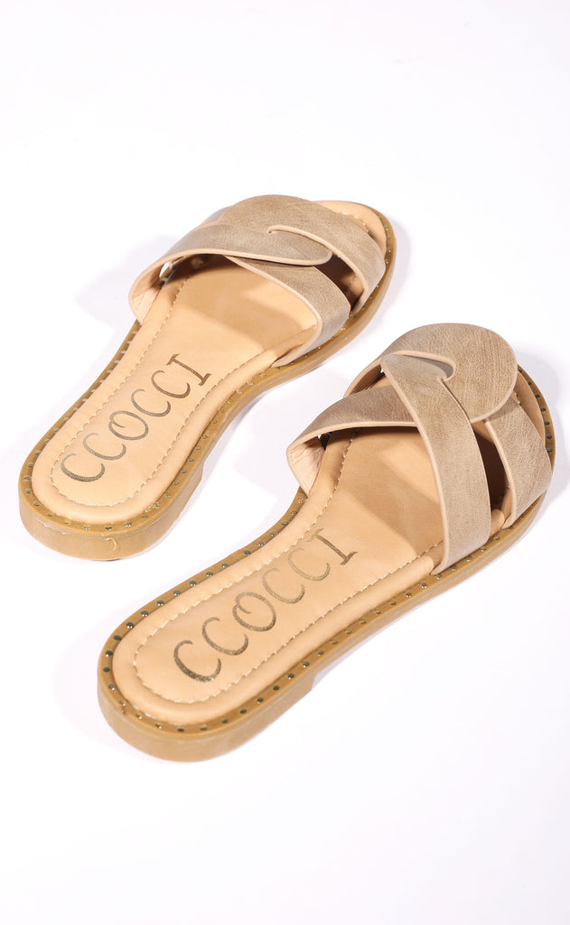 sandy toes slip on sandal - taupe