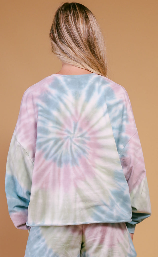 project social t: cosmos sweatshirt - purple tie dye