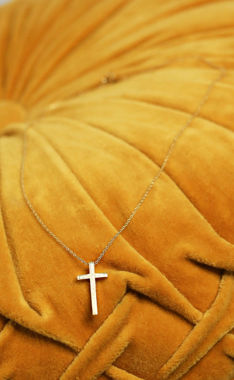 metal cross necklace - gold