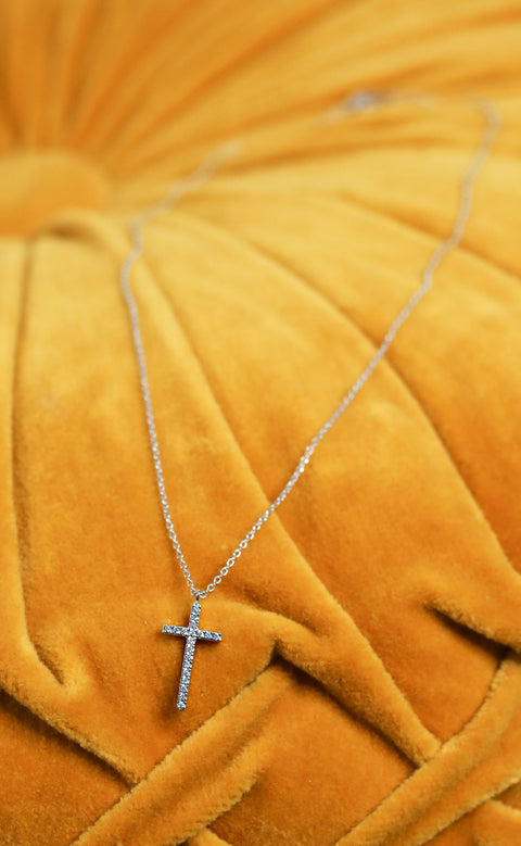 sparkle cross necklace - silver