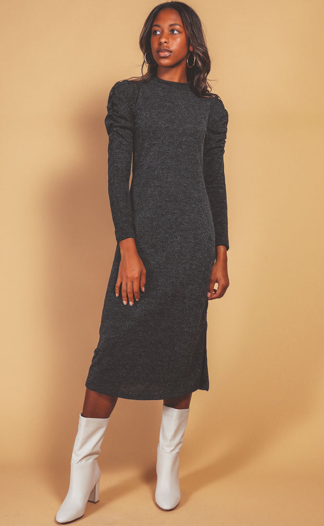 mock neck sweater dress - charcoal