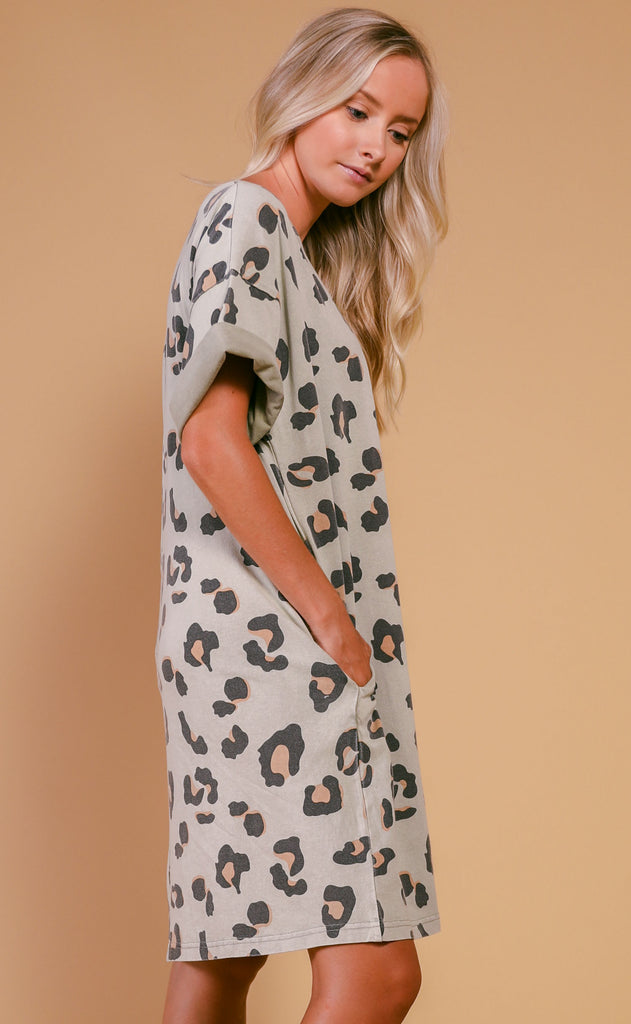love it leopard tunic - faded sage